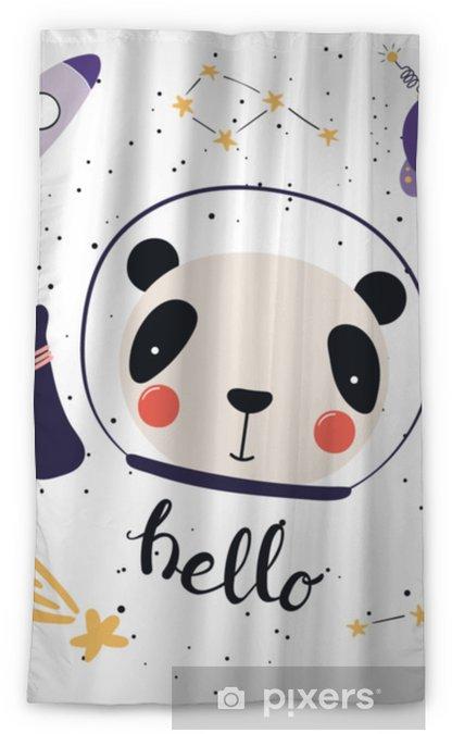 Rideau Occultant Illustration Vectorielle Dessinés à La Main Dun Panda Drôle Mignon Dans Lespace Avec Fusée Ovni Comète Constellations Lettrage