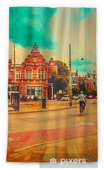 Rideau occultant Le cycliste roule dans le centre d'Amsterdam. aquarelle. style de peinture à l'huile. - Voyages