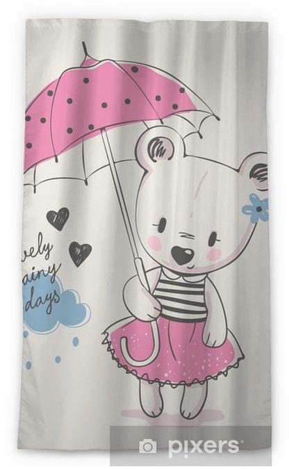Rideau Occultant Mignonne Petite Fille Avec Parapluie Dessin Animé Illustration Vectorielle Dessinés à La Main Peut être Utilisé Pour L Impression