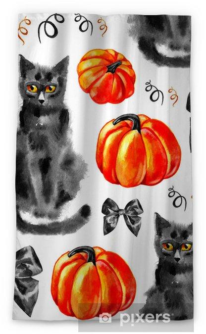 Rideau Occultant Modèle Sans Couture D Halloween Dessin à Main Levée Citrouilles Chat Arcs