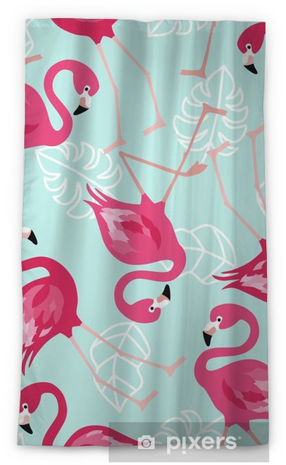 Rideau occultant Modèle sans couture de flamingo sur fond vert menthe.  conception de fond de vecteur de flamant rose pour le tissu et la  décoration. ...