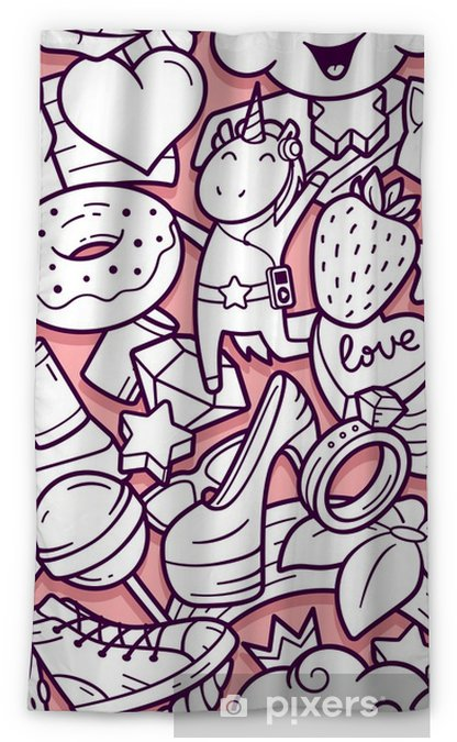 Rideau Occultant Modele Sans Couture De Graffiti Avec Des Icones De Ligne De Style De Vie Urbain Fond De Vecteur Abstraite Doodle Fou Collage De
