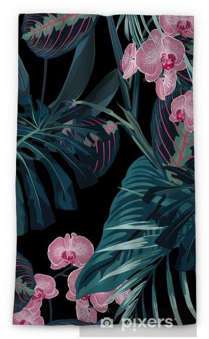Rideau occultant Modèle sans couture, feuilles de palmier de couleurs vert foncé et fleurs d'orchidées roses tropicaux sur fond noir. style vintage. - Plantes et fleurs