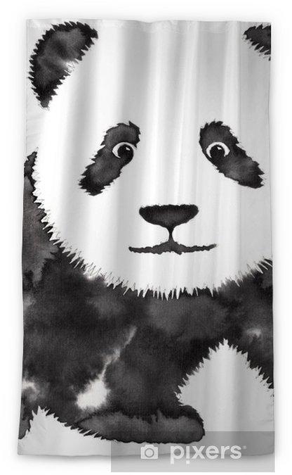 Rideau Occultant Peinture Monochrome Noir Et Blanc Avec De Leau Et De Lencre Dessiner Panda Illustration