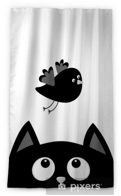 Rideau Occultant Silhouette Tête De Chat Noir à La Recherche Doiseau En Vol Personnage De Dessin Animé Mignon Animal Kawaii Carte De Bébé
