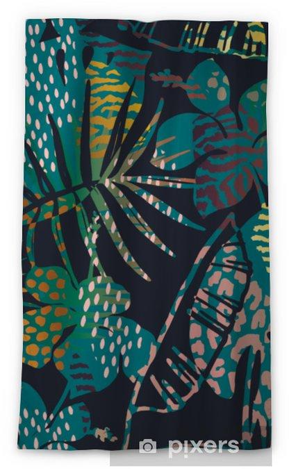 Rideau occultant Tendance modèle exotique sans couture avec des empreintes  de palmiers et d\'animaux.