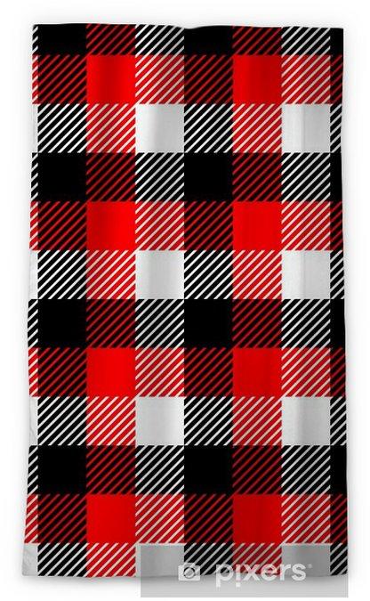 Rideau Occultant Tissu à Carreaux Vichy Seamless Dans Le Noir Rouge Blanc