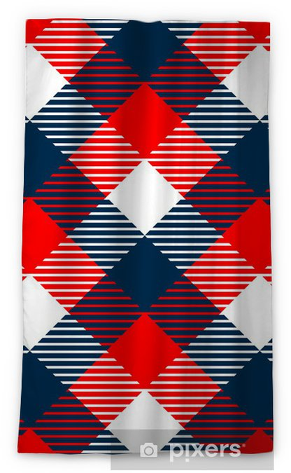 Rideau Occultant Tissu à Carreaux Vichy Seamless En Bleu Blanc Rouge