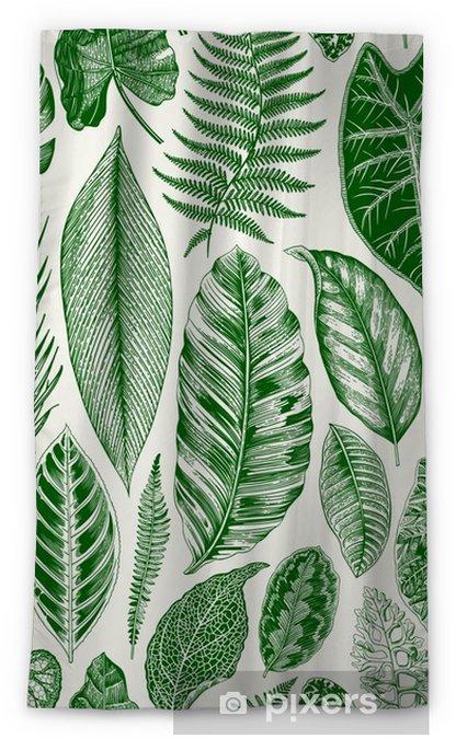 Rideau occultant Vecteur transparente motif floral vintage. feuilles exotiques. illustration classique botanique. vert - Plantes et fleurs