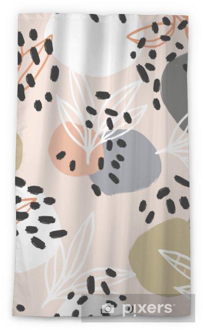 Rideau transparent Collection de motifs abstraits modernes. modèle de héros avec des coups de pinceau, des formes et des éléments floraux. couleurs pastel à la mode. numérique minimaliste. impression sur tissu, papier d'emballage, affiche, flyer, bannière - Passe-temps et loisirs