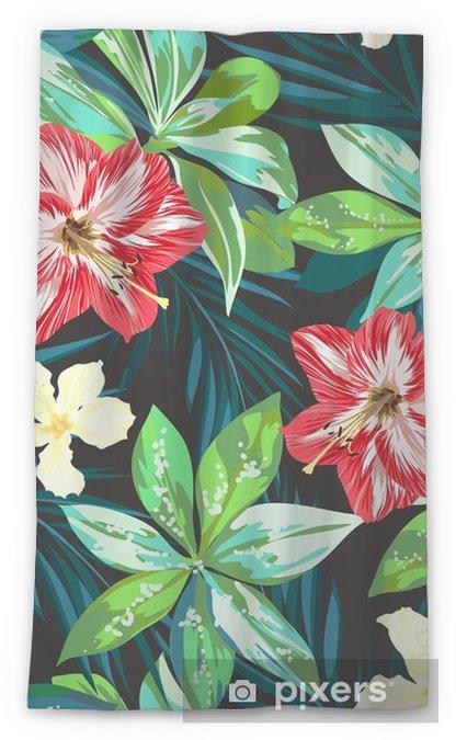 Rideau transparent Fond transparent tropical coloré avec des feuilles et  des fleurs