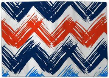 Chevron pattern hand painted with brushstrokes Rug