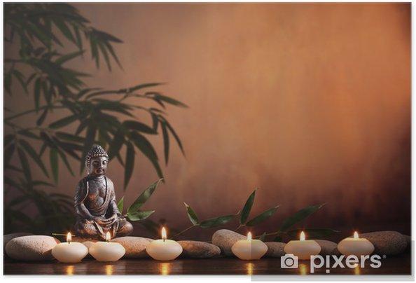 Samolepicí plakát Buddha s hořící svíčkou a bambusu - Buddhismus