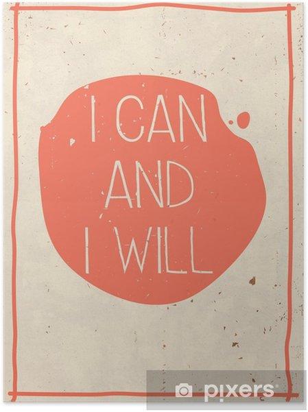Samolepicí plakát Plakát s ručně psaný citát, grunge oranžové pozadí - Podnikání