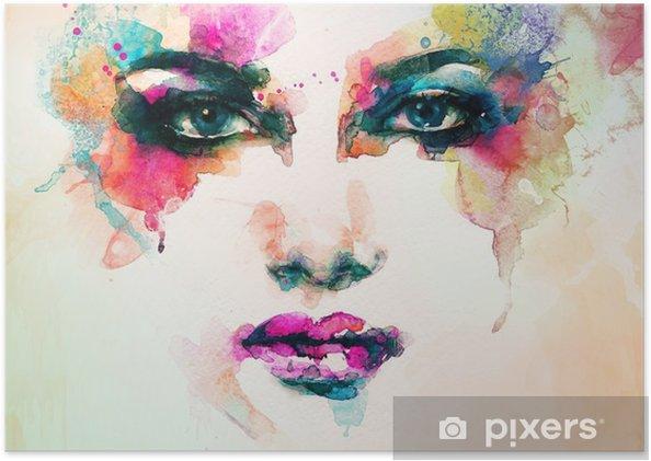 Selbstklebendes Poster Frau Porträt. abstraktes Aquarell. Mode Hintergrund - Menschen