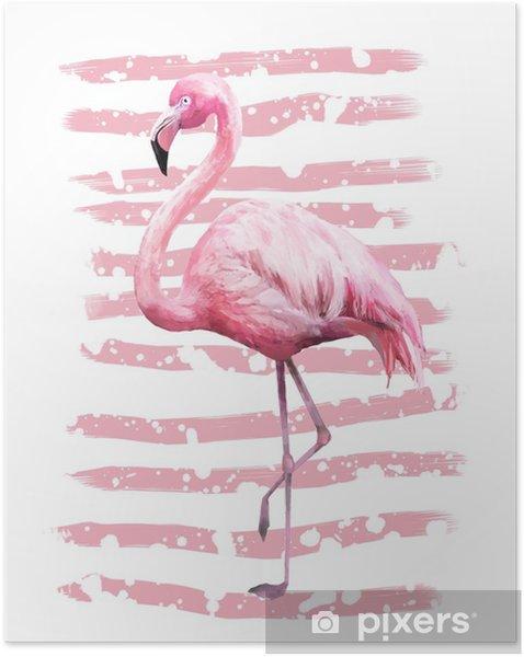Selbstklebendes Poster Geometrisches Plakatdesign des tropischen Sommers mit Schmutzbeschaffenheiten. Aquarell rosa Vogel - Flamingo. exotischer abstrakter Hintergrund, Weinlese. handgemalte Abbildung. Kritzeleien Retro - Tiere
