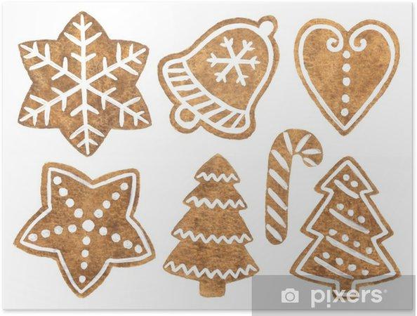 Selbstklebendes Poster Handgemalte Aquarell Lebkuchen Cookies Clipart Fur Weihnachten