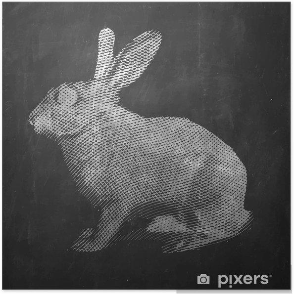 Selbstklebendes Poster Hase. Bauernhoftier. Jahrgang gravierte Darstellung auf sauberen Hintergrund. - Tiere