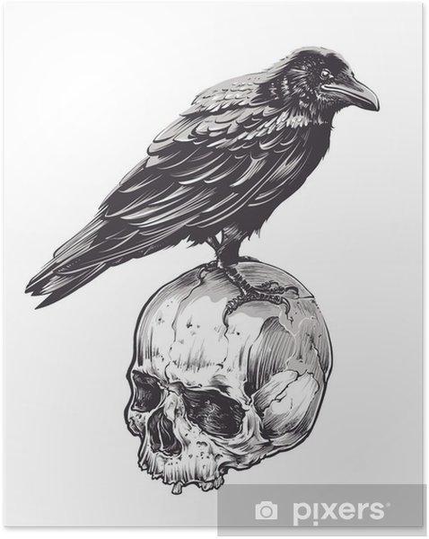 Selbstklebendes Poster Krähe auf Schädel - Tiere