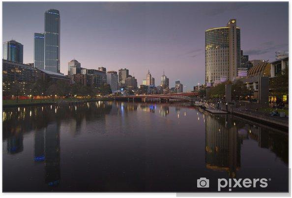 Selbstklebendes Poster Melbourne bei Nacht - Themen