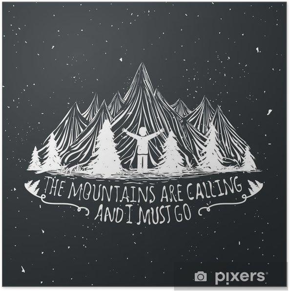 Selbstklebendes Poster Vector Wildnis Zitat Plakat mit Mann Silhouette, die Berge und Wald - Landschaften