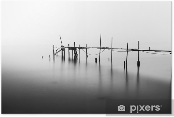A Long Exposure of an ruined Pier in the Middle of the Sea.Processed in B&W. Self-Adhesive Poster - Landscapes