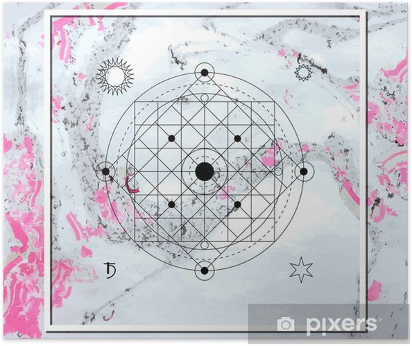 Abstract mystical geometry, linear alchemy, occult, philosophical sign. Self-Adhesive Poster - Graphic Resources