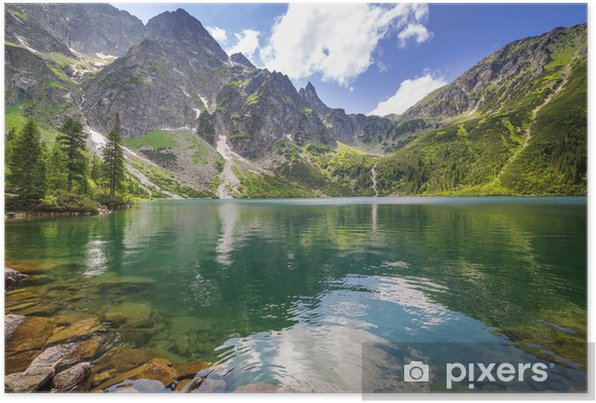Beautiful scenery of Tatra mountains and lake in Poland Self-Adhesive Poster - Themes