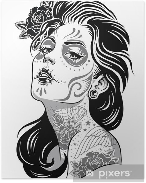 Black and White Day of Dead Girl Vector Illustration Self-Adhesive Poster -