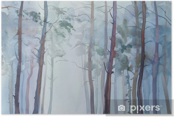 Foggy forest watercolor background Self-Adhesive Poster - Landscapes