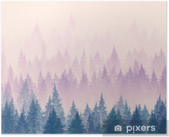 Forest in the fog. Minimalistic illustration. Digital drawing. Self-Adhesive Poster - Landscapes