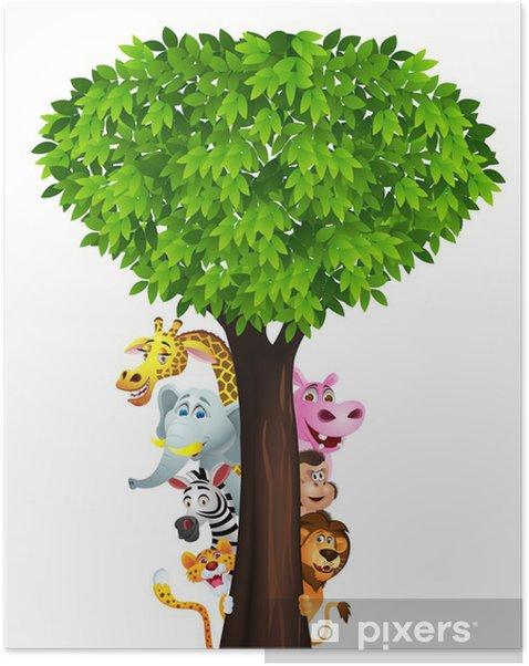 Funny safari animal cartoon Self-Adhesive Poster - Wall decals