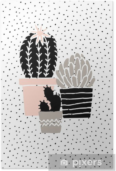 Hand Drawn Cactus Poster Self-Adhesive Poster - Graphic Resources
