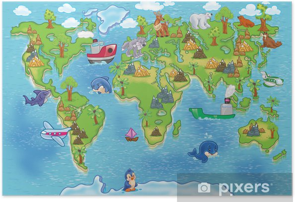 kids world map Self-Adhesive Poster - iStaging