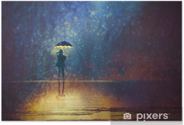 lonely woman under umbrella lights in the dark,digital painting Self-Adhesive Poster - Hobbies and Leisure