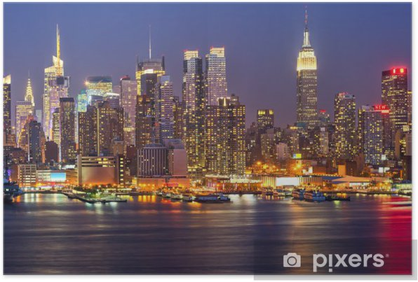 Manhattan by night Self-Adhesive Poster -