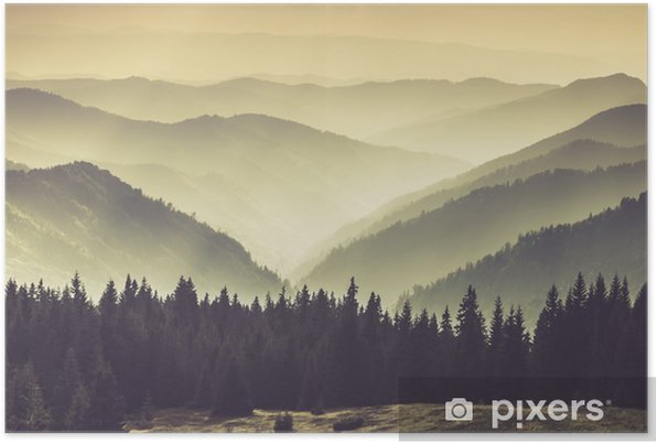 Misty mountain hills Self-Adhesive Poster - Landscapes