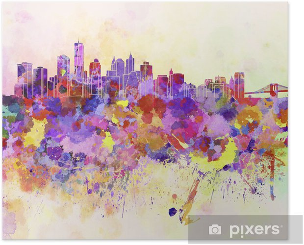 New York skyline in watercolor background Self-Adhesive Poster - Styles