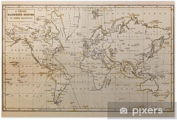 Old hand drawn vintage world map Self-Adhesive Poster - Themes