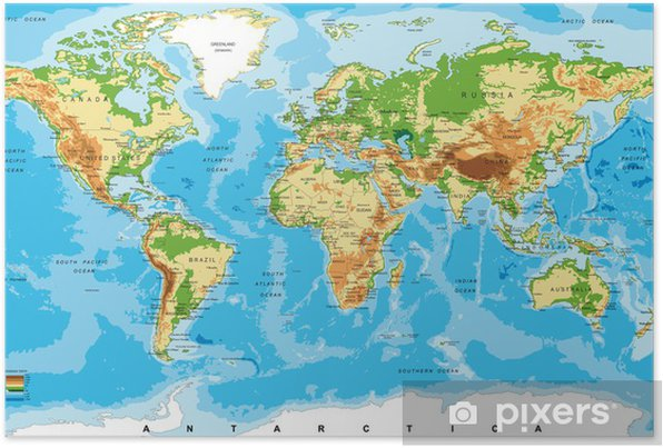 Physical map of the world Self-Adhesive Poster - Other
