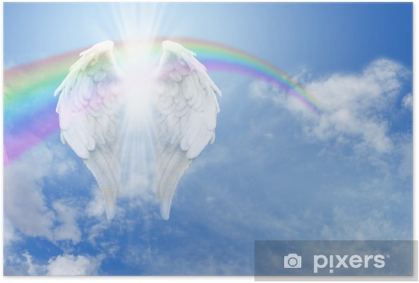 Rainbow Angel Wings in the clouds Banner Self-Adhesive Poster - Rainbows