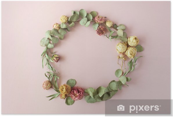 round frame wreath pattern with roses, pink flower buds, eucalyptus branches and leaves on pink background. flat lay, top view Self-Adhesive Poster - Hobbies and Leisure