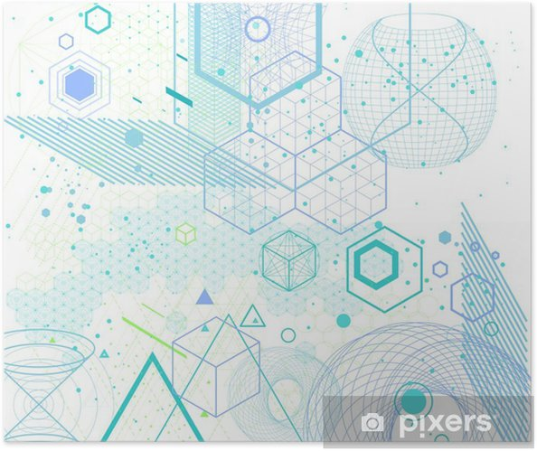 Sacred geometry symbols and elements background Self-Adhesive Poster - Graphic Resources