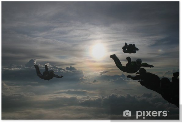 Silhouette Skydivers Self-Adhesive Poster - Individual Sports