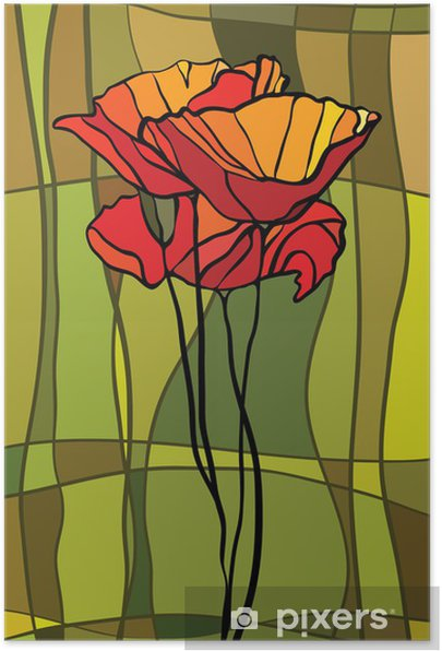 Stained glass window Self-Adhesive Poster -