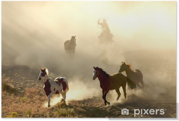 Sunlight Horses and cowboy galloping and through the desert Self-Adhesive Poster - Themes