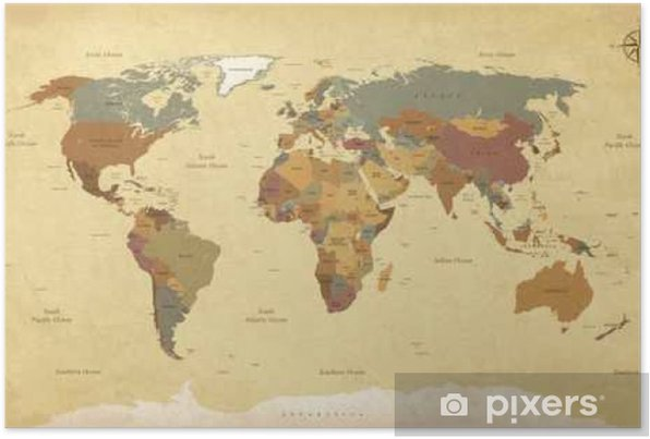 Textured vintage world map - English/US Labels - Vector CMYK Self-Adhesive Poster - Travel