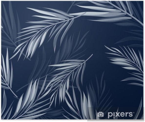 Tropical seamless monochrome blue indigo camouflage background with leaves and flowers Self-Adhesive Poster - Plants and Flowers