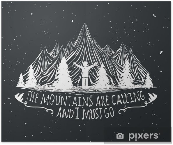 Vector wilderness quote poster with man silhouette, mountains and forest Self-Adhesive Poster - Landscapes