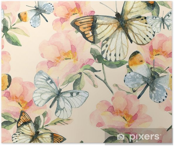 Watercolor briar flowers and butterfly seamless pattern. Dog Rose branches in vintage style Self-Adhesive Poster - Plants and Flowers